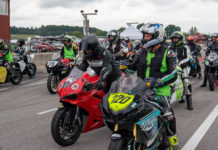 Riders lined up for an Evolve GT track day session at VIRginia International Raceway. Photo by Mark Lienhard, courtesy Evolve GT.