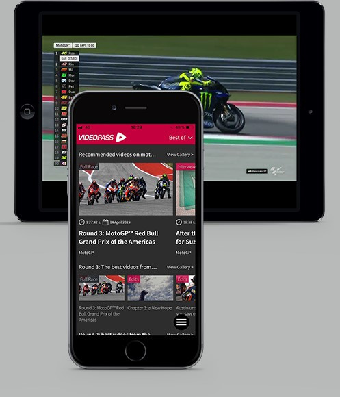 MotoGP Video Pass as seen on a smart phone and tablet. Photo courtesy Dorna.