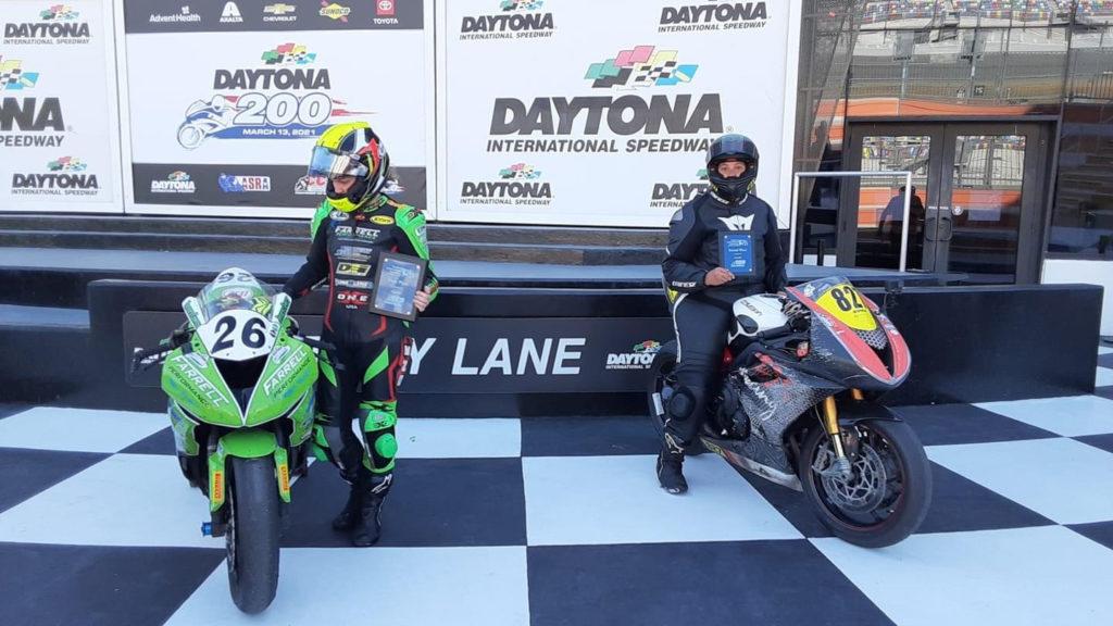 Jessica Capizzi (26) won the MotoGirlGT Superbike race at Daytona International Speedway and Jessica Martin (827) finished second. Photo courtesy MotoGirlGT.