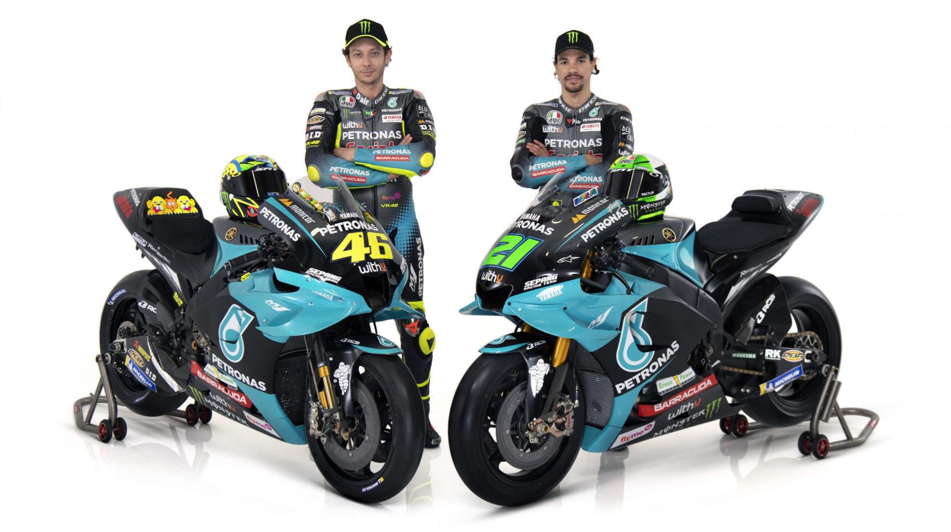 Valentino Rossi (left) with his new PETRONAS Yamaha Sepang Racing Team teammate Franco Morbidelli (right). Photo courtesy PETRONAS Yamaha SRT.
