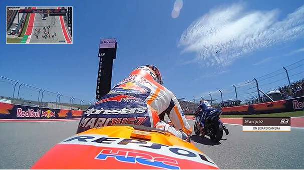 A screenshot of coverage of a MotoGP race with a picture-in-picture replay of the start. Photo courtesy Dorna.