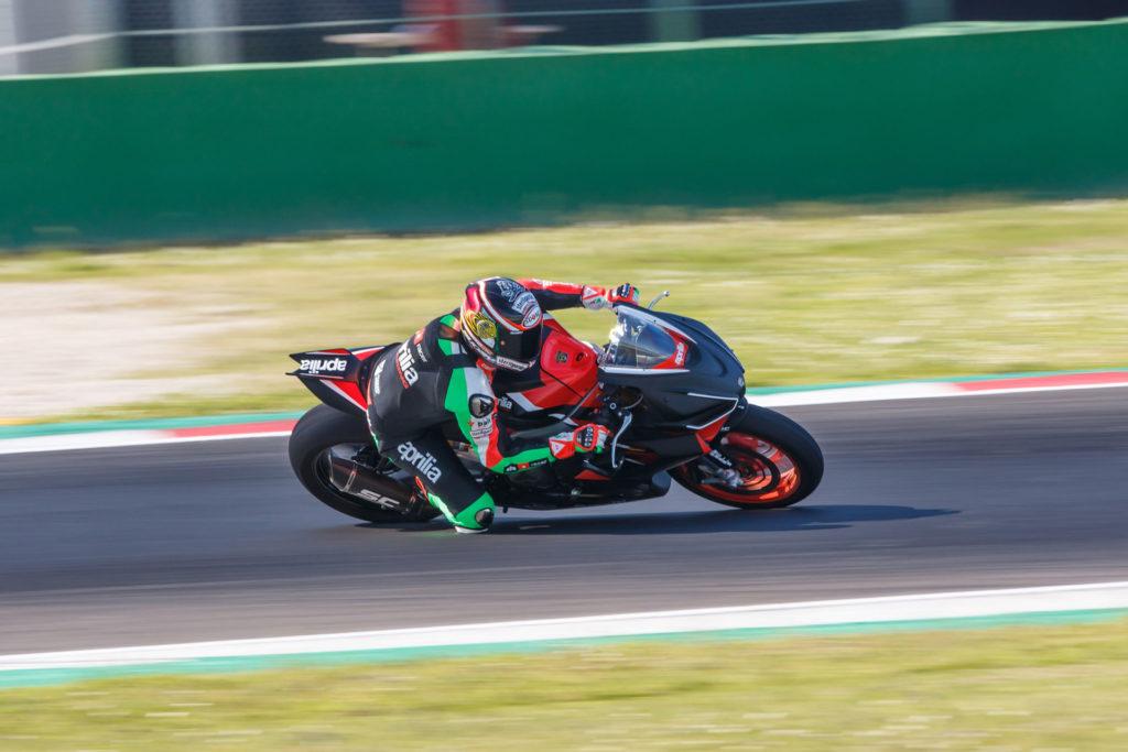 Max Biaggi riding an Aprilia RS 660 Trophy spec racebike at Misano. Photo courtesy Aprilia.