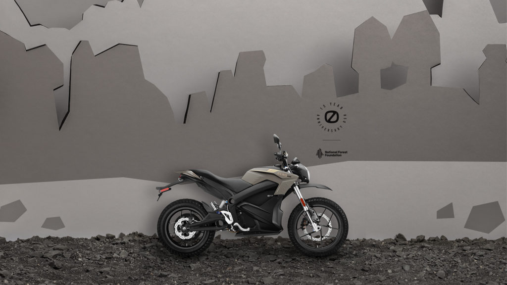 A 15th anniversary limited-edition Zero DSR electric motorcycle in Mojave. Photo courtesy Zero Motorcycles.