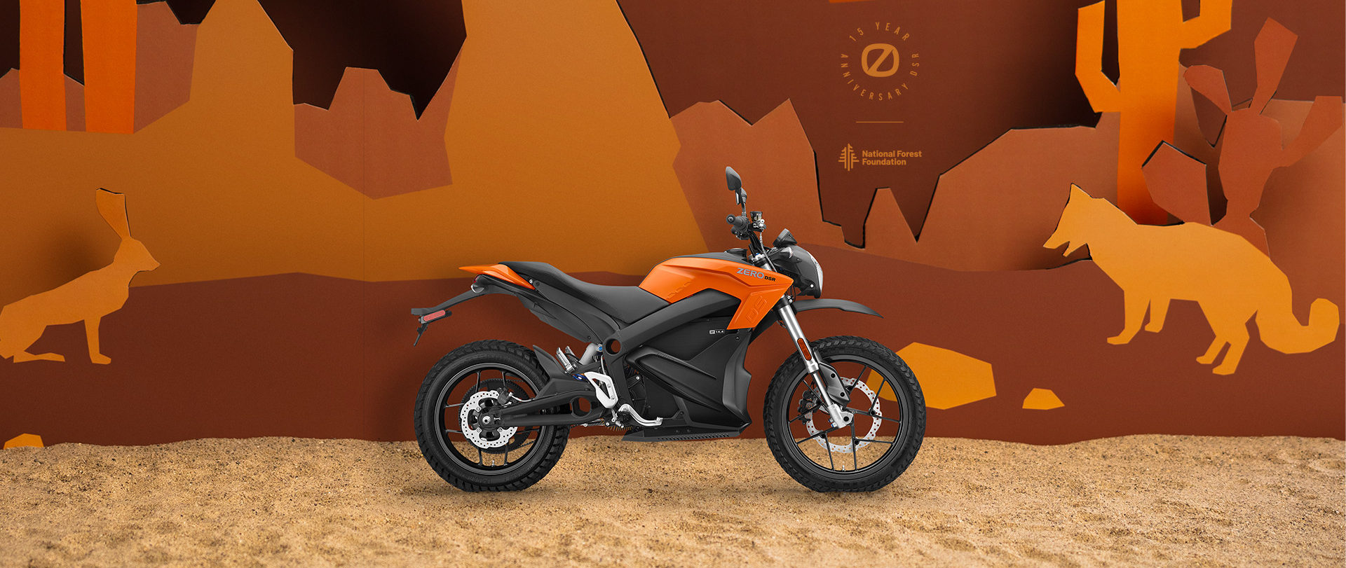 A 15th anniversary limited-edition Zero DSR electric motorcycle in Orange. Photo courtesy Zero Motorcycles.