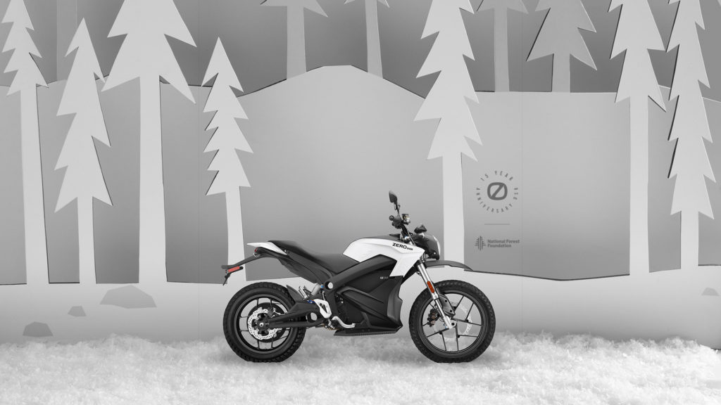 A 15th anniversary limited-edition Zero DSR electric motorcycle in Snow. Photo courtesy Zero Motorcycles.