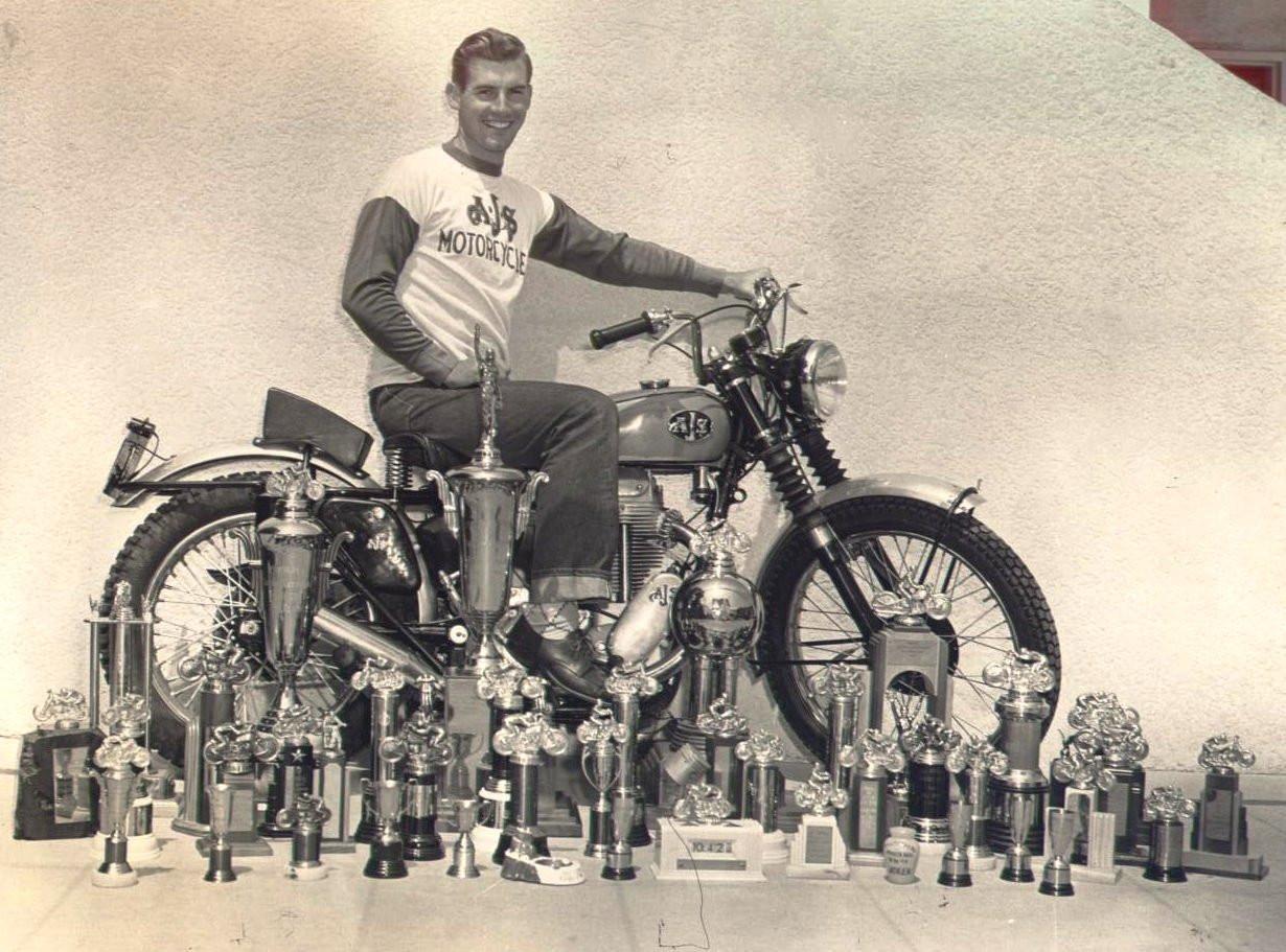 Del Kuhn, circa 1952. Photo courtesy AMA Motorcycle Hall of Fame.