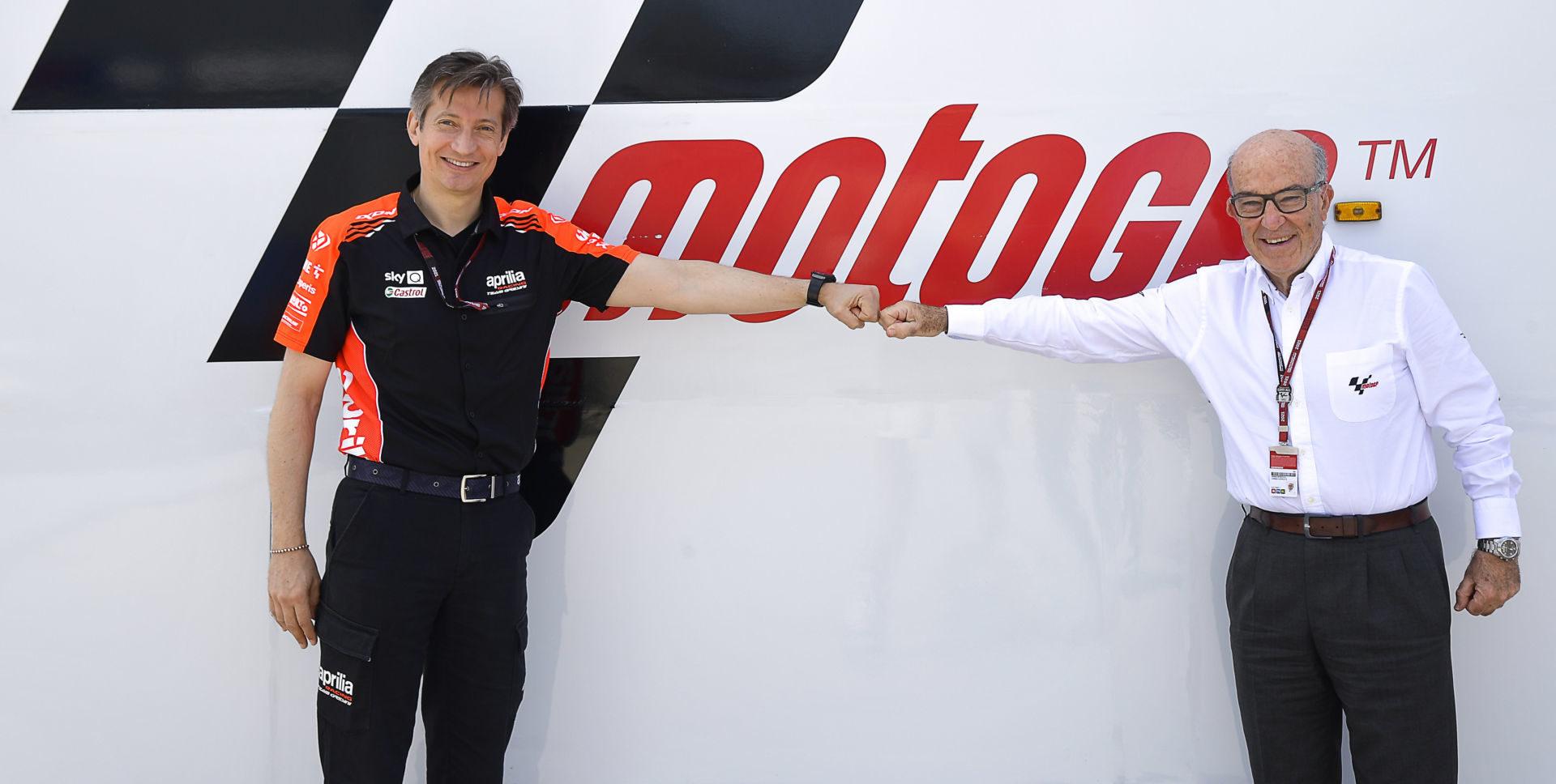Aprilia Racing CEO Massimo Rivola (left) with Dorna CEO Carmelo Ezpeleta (right). Photo courtesy Dorna.