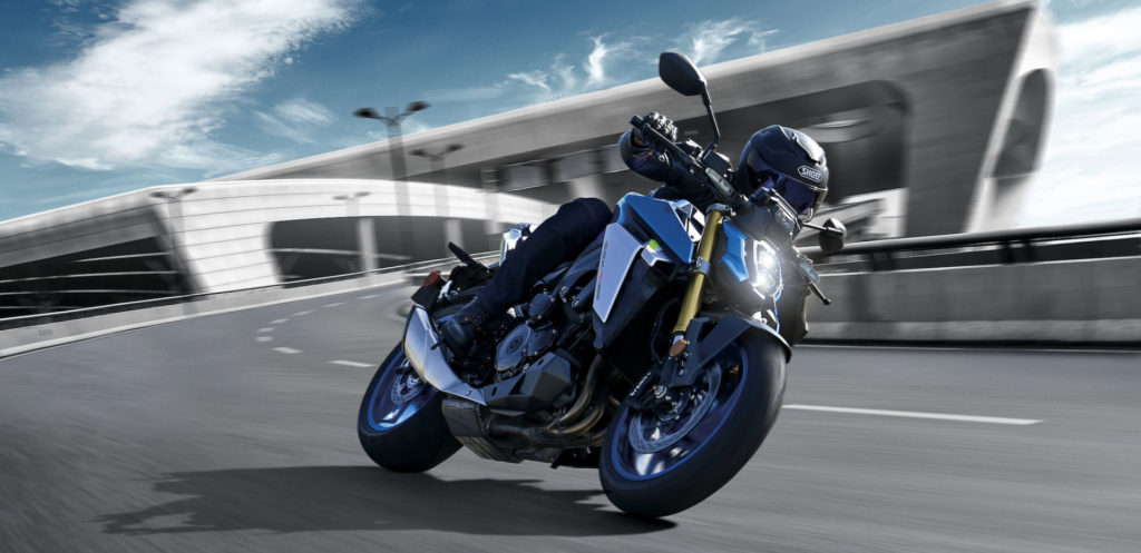 The GSX-S1000's long stroke GSX-R derived engine has been refined to produce a broad,  smooth torque curve with increased horsepower. Photo courtesy Suzuki Motor USA, LLC.