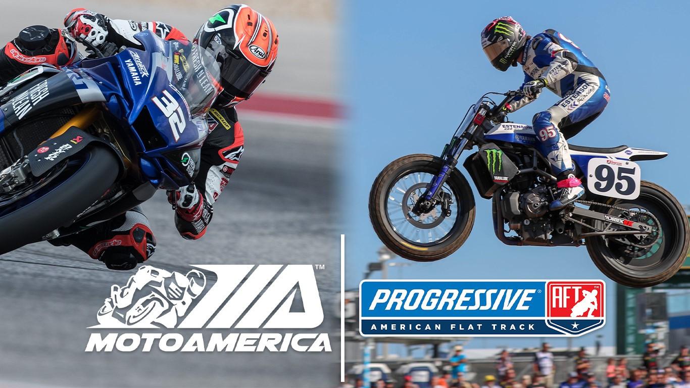 MotoAmerica Superbike racer Jake Gagne (32) and AFT SuperTwins racer JD Beach (95). Image courtesy MotoAmerica.