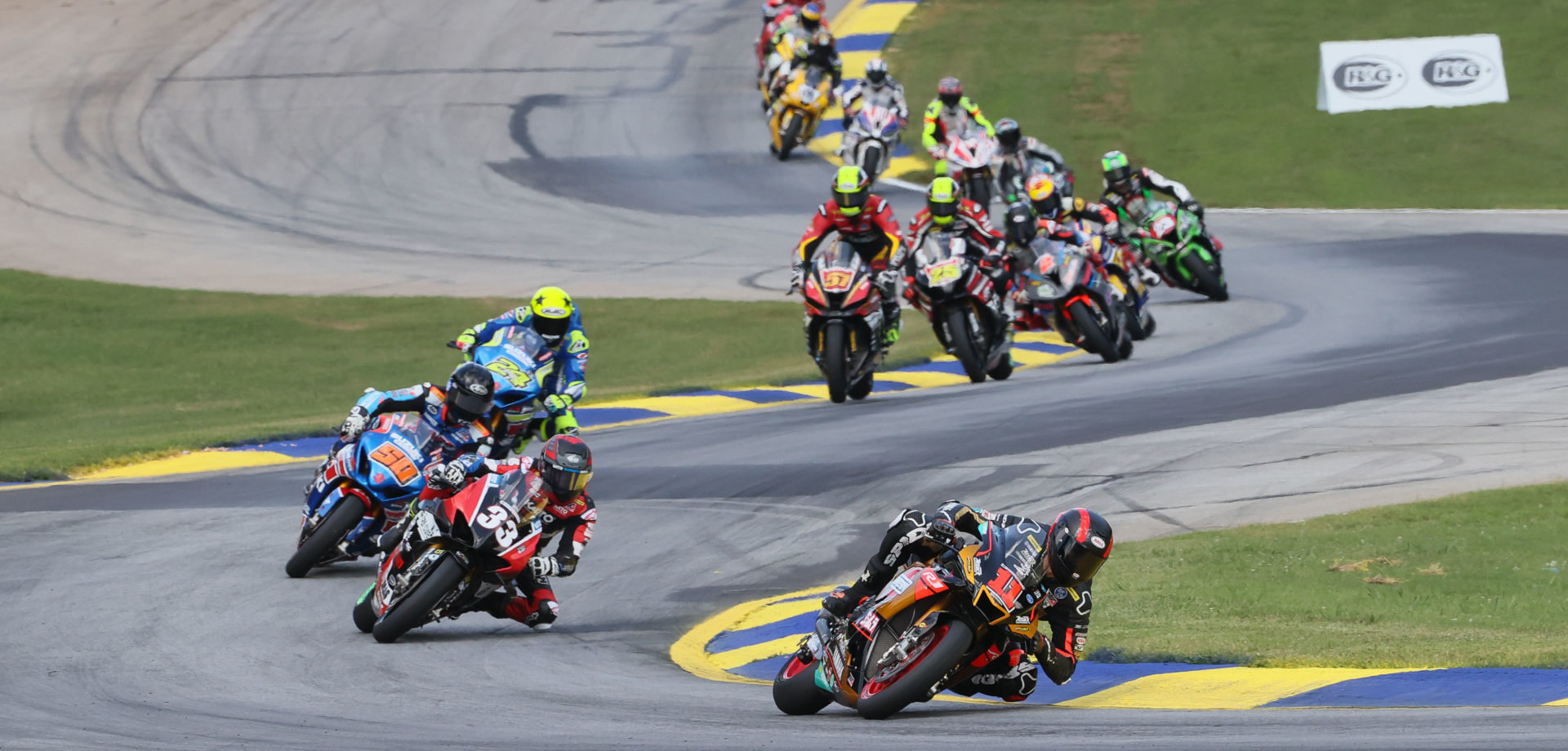 Action from a MotoAmerica Superbike race at Road Atlanta in 2020. Photo by Brian J. Nelson, courtesy of MotoAmerica.