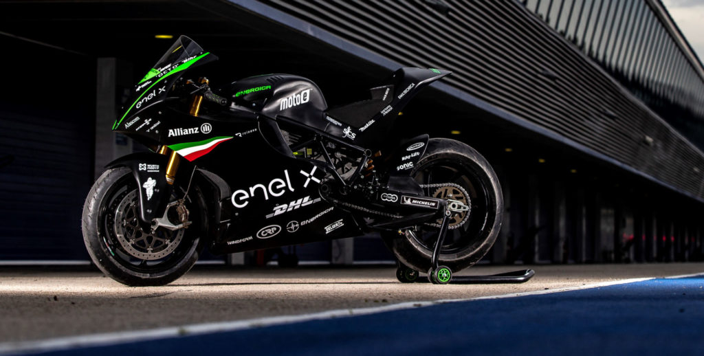 An Energica Ego Corsa electric racebike at Jerez. Photo by Jesus Robledo, courtesy Energica.
