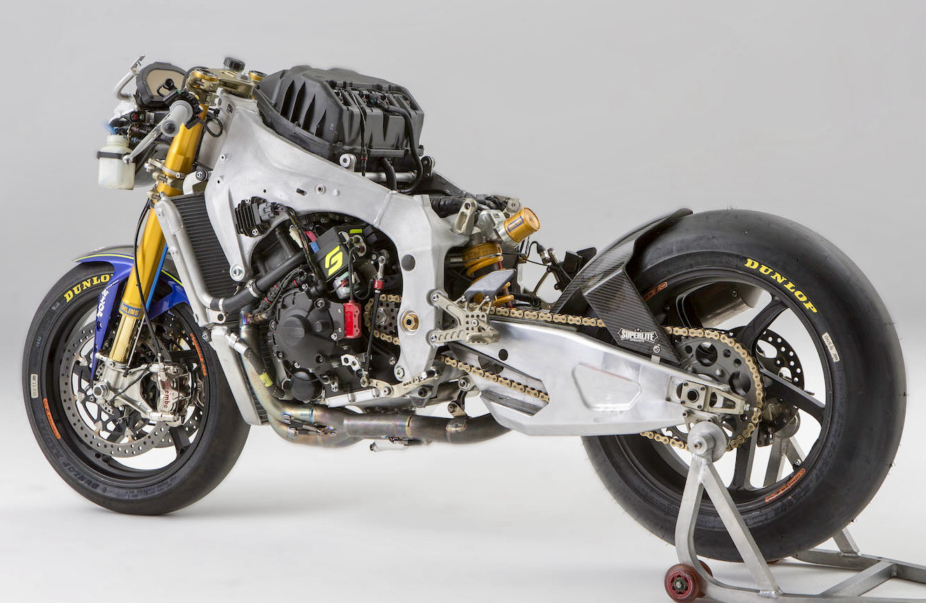 A Yamaha YZF-R1 with Attack Performance chassis parts. Photo courtesy Attack Performance.
