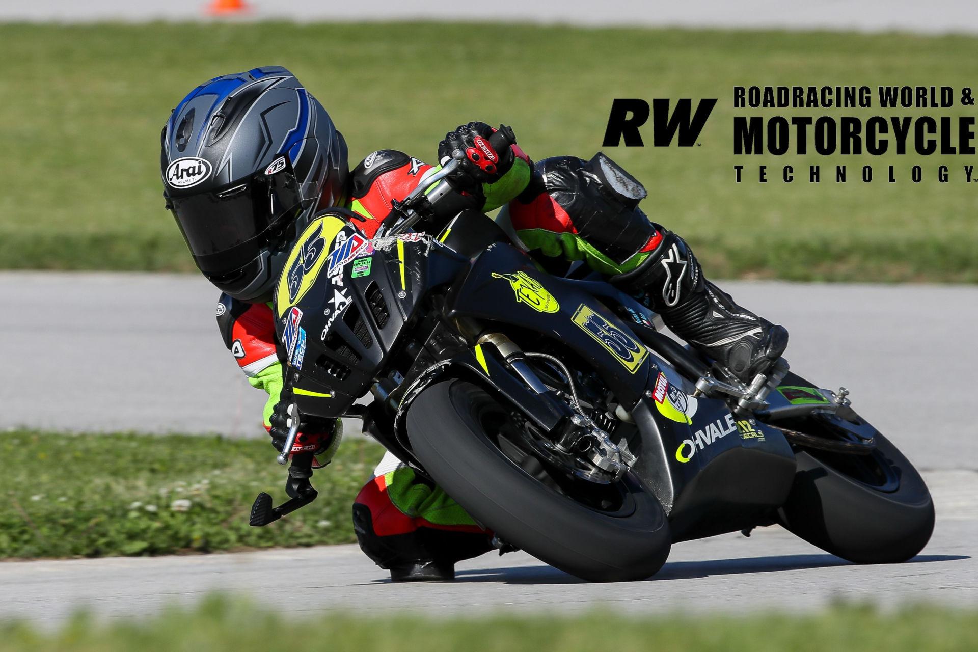 Mikey Lou Sanchez (55) on his Ohvale MotoAmerica Mini Cup racebike. Photo by Brian J. Nelson.