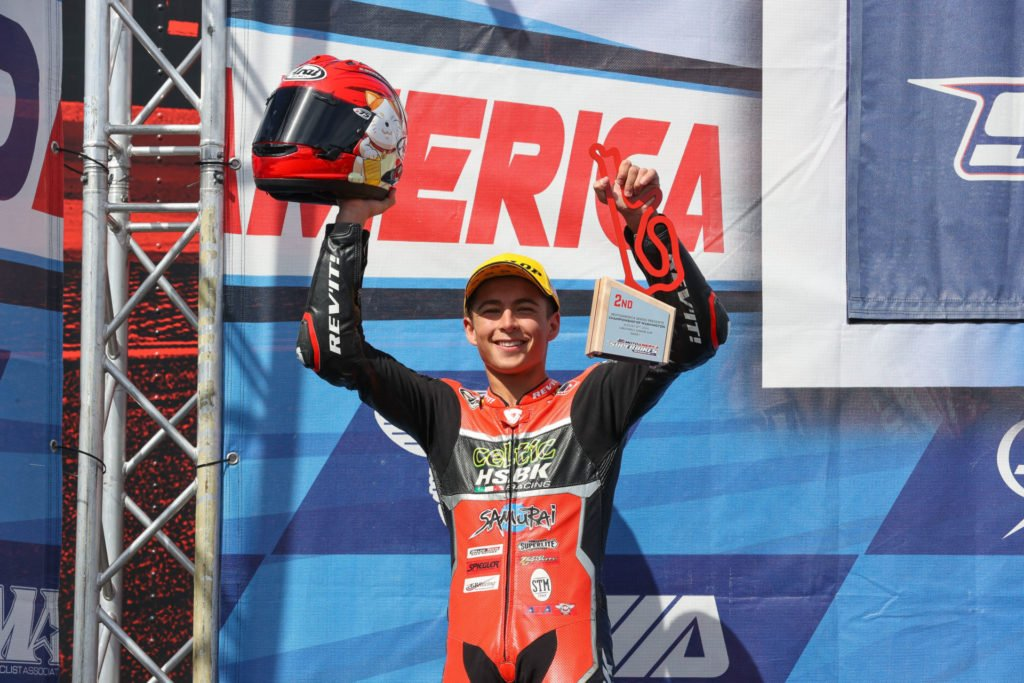 Sam Lochoff on the MotoAmerica Junior Cup podium in 2020. Photo by Brian J. Nelson.