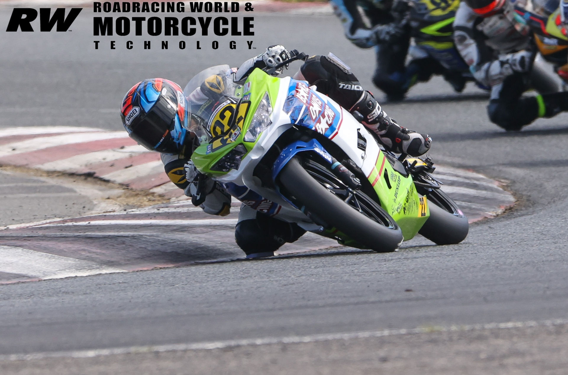 Blake Davis (22) in action during a MotoAmerica Junior Cup race in 2020. Photo by Brian J. Nelson.