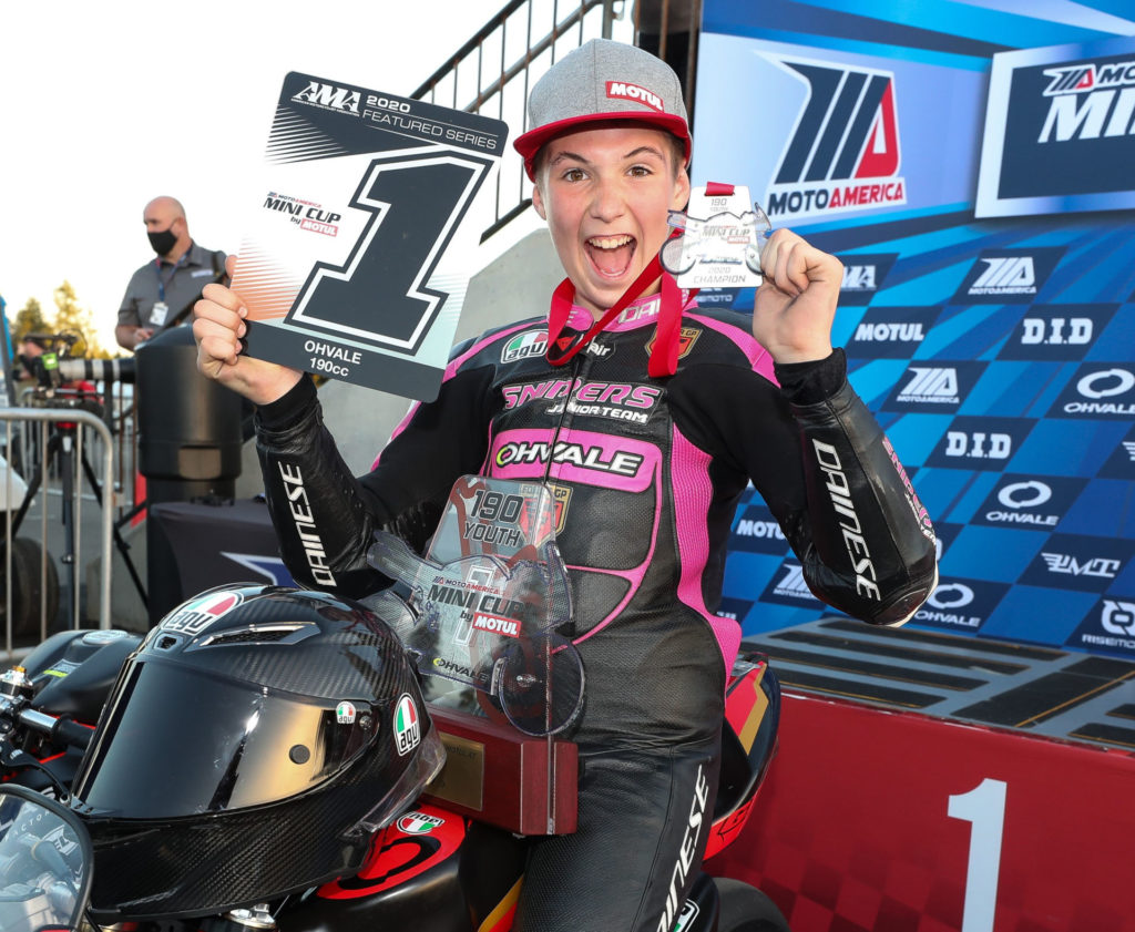 Rossi Moor, after winning the 2020 MotoAmerica Mini Cup 190 Championship. Photo by Brian J. Nelson.