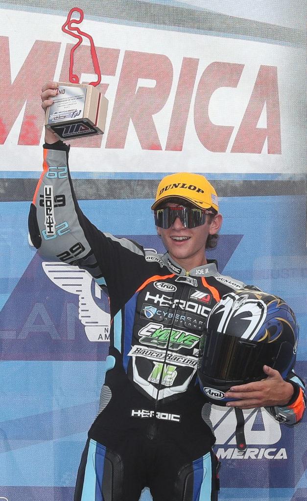 Joseph LiMandri Jr. on the MotoAmerica Junior Cup podium at NJMP. Photo by Brian J. Nelson.