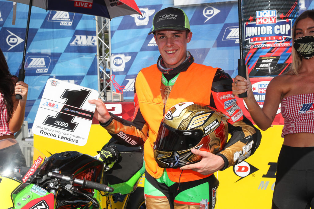 Rocco Landers with his 2020 MotoAmerica Junior Cup #1 plate. Photo by Brian J. Nelson.