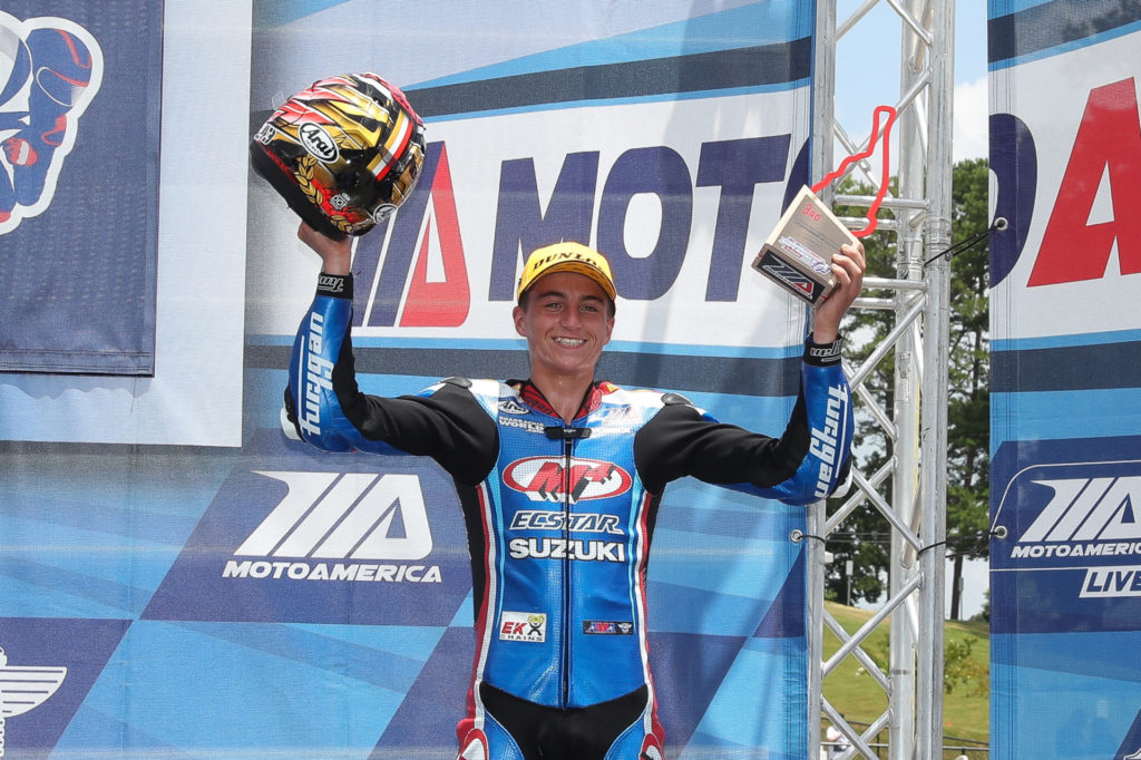 Alex Dumas on the MotoAmerica Stock 1000 podium at Road Atlanta in 2020. Photo by Brian J. Nelson.