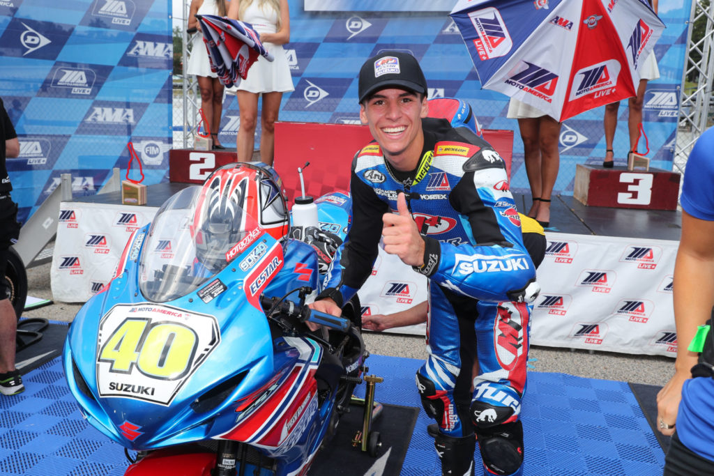 Sean Dylan Kelly, after winning a MotoAmerica Supersport race at Road Atlanta in 2020. Photo by Brian J. Nelson.