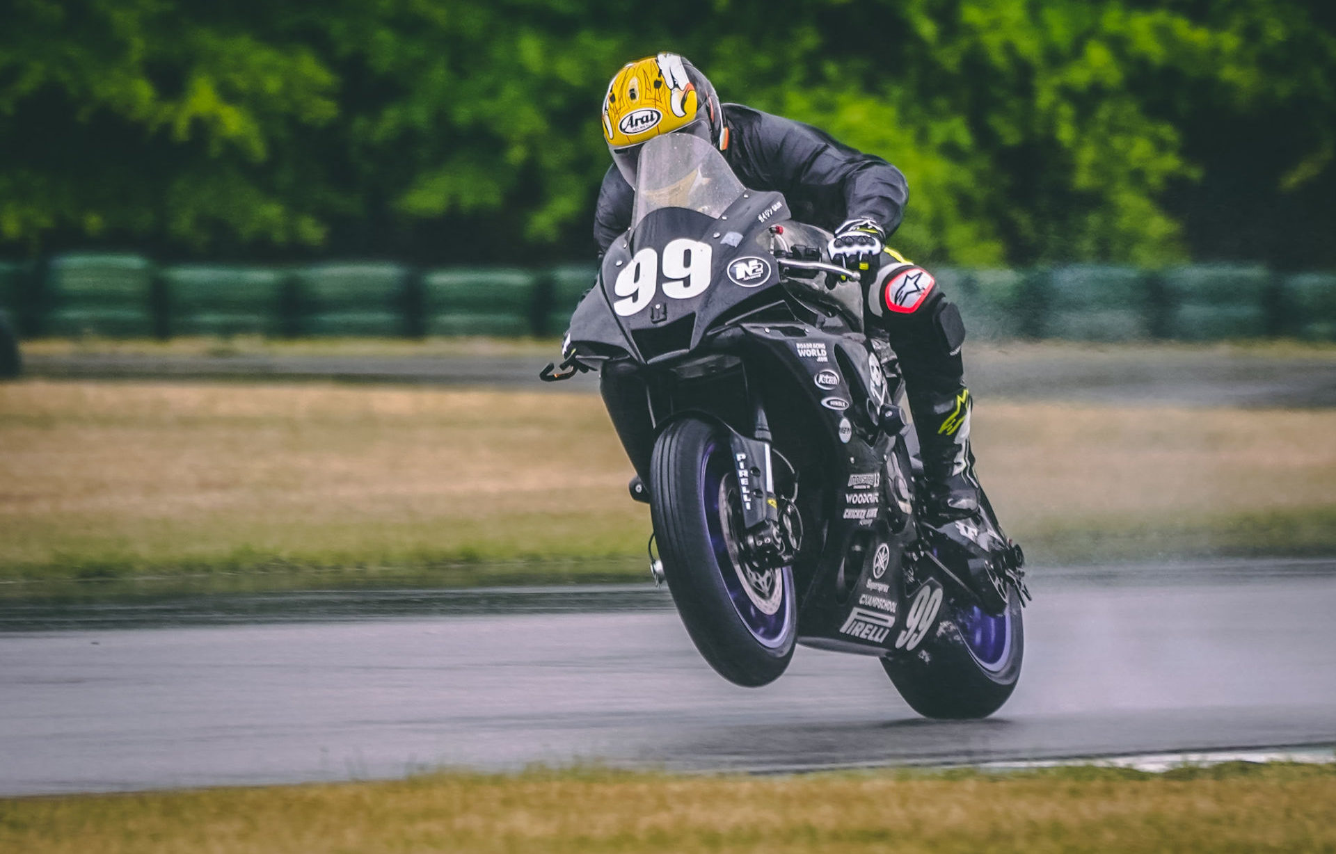 Ben Walters, Jr. (99) at speed on the Army of Darkness Yamaha YZF-R1 at Carolina Motorsports Park. Photo by Christopher Holder, courtesy AOD.