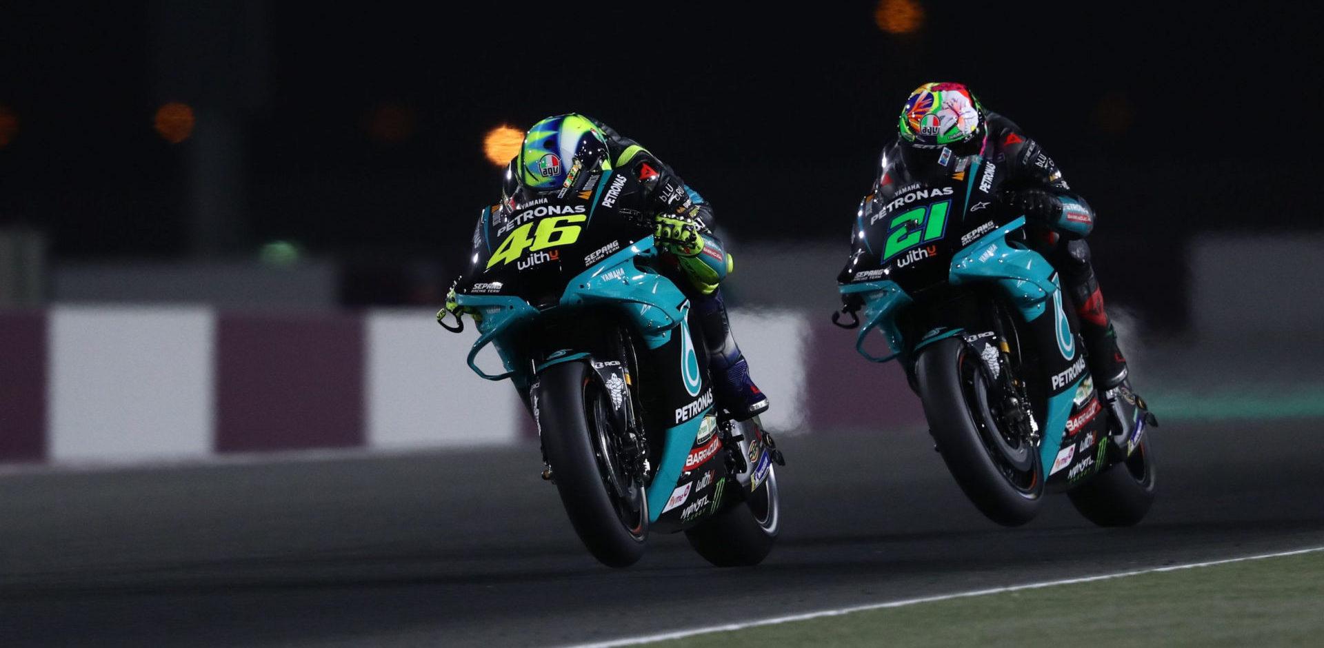 Franco Morbidelli (21) and Valentino Rossi (46). Photo courtesy PETRONAS Yamaha SRT.