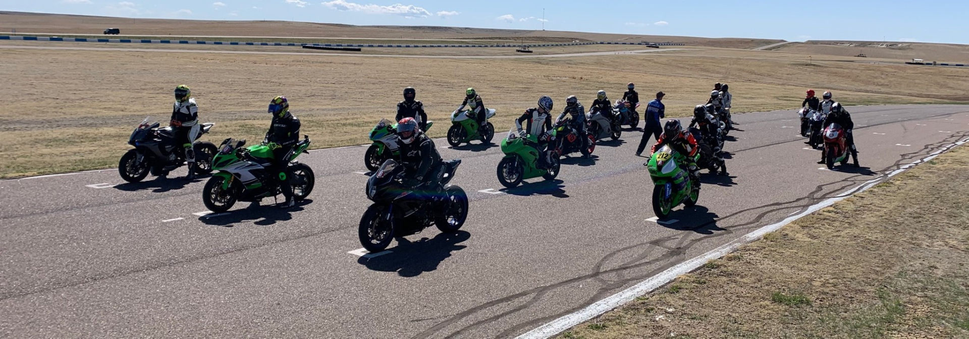 A grid of students at the MRA New Racers' School at High Plains Raceway. Photo by Brittany Morrison, courtesy MRA.