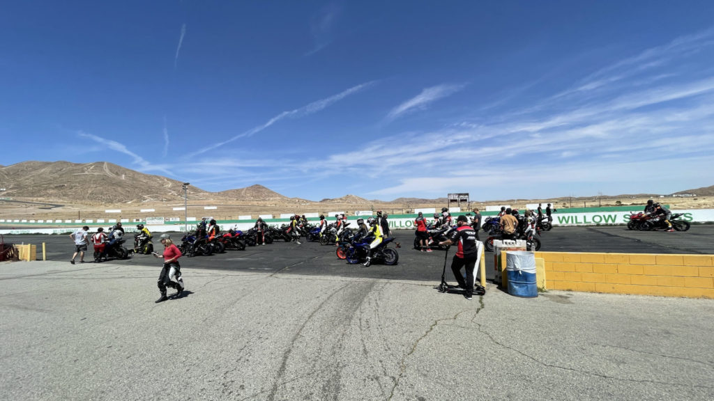 """Guests lining up to go out on track at MotoAmerica's """"Bikes and Burgers Track Day"""" at Willow Spring. Photo courtesy MotoAmerica."""