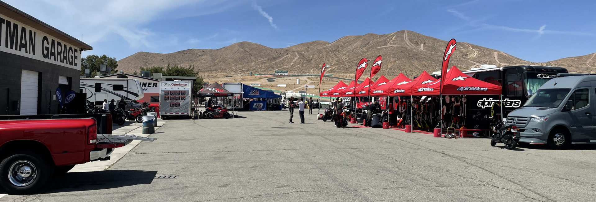 The paddock at Willow Springs International Raceway filled with MotoAmerica staff, racers, partners, and invited guests. Photo courtesy MotoAmerica.