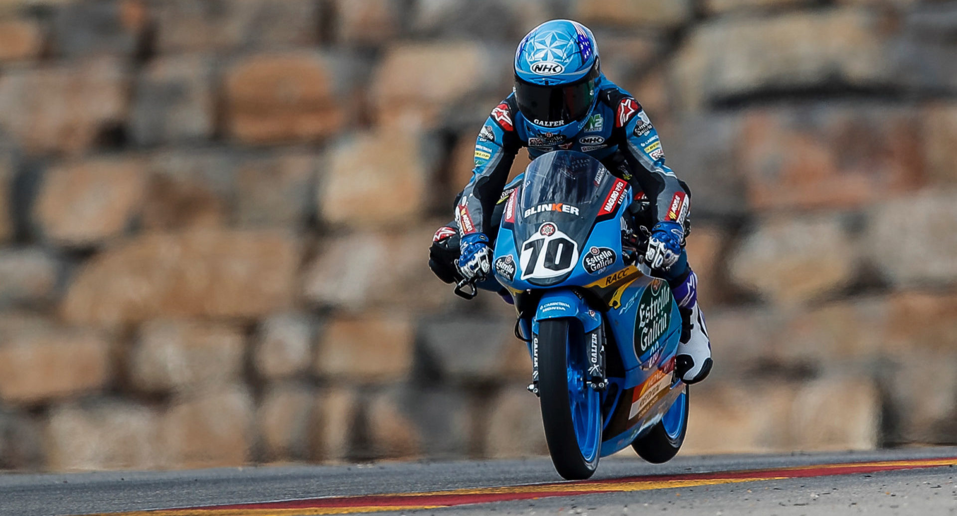 Tyler Scott (70) in action at Motorland Aragon during the 2020 European Talent Cup. Photo courtesy Tyler Scott.