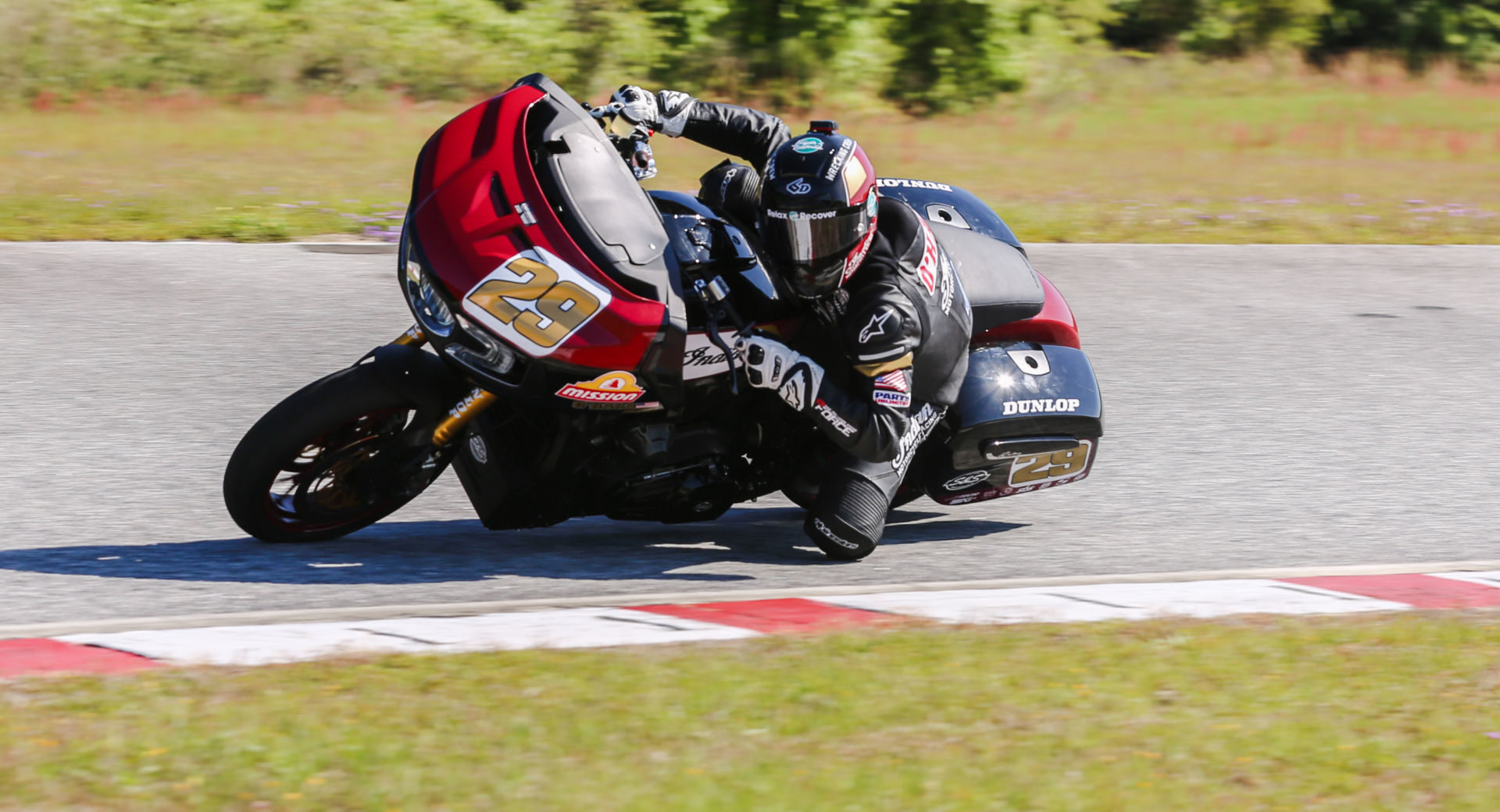 Tyler O'Hara (29) at speed on his Mission Foods S&S Indian Challenger. Photo courtesy Indian Motorcycle.