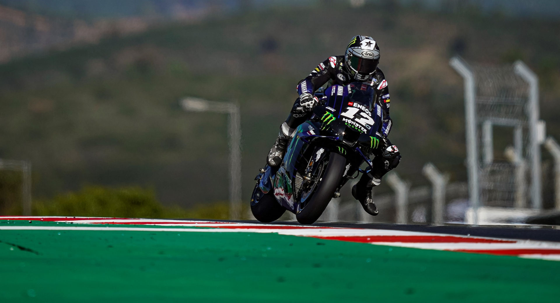 Maverick Vinales (12) during practice at Algarve International Circuit in 2020. Photo courtesy Monster Energy Yamaha.