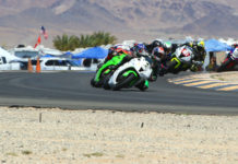 Michael Gilbert (1) leads the start of the CVMA Supersport Open race at Chuckwalla Valley Raceway. Photo by CaliPhotography.com, courtesy CVMA.
