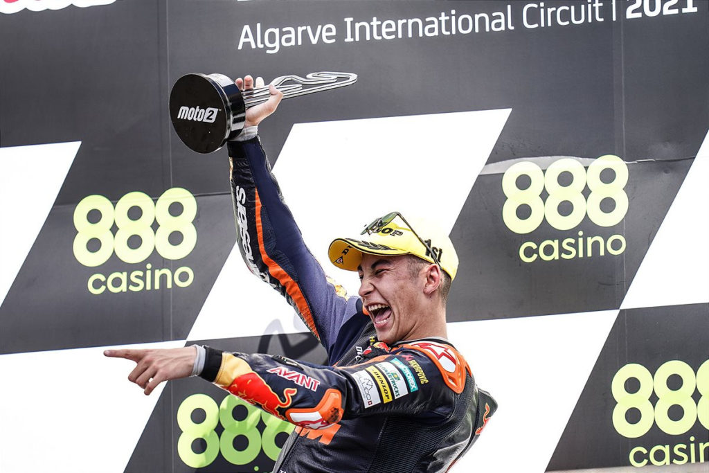 Raul Fernandez on the Moto2 podium in Portugal. Photo by Polarity Photo, courtesy KTM.
