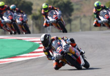David Alonso (80) leads Red Bull MotoGP Rookies Cup Race One in Portugal. Photo courtesy Red Bull.