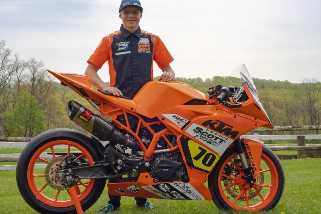 Tyler Scott and his KTM RC 390 R. Photo courtesy Scott Powersports KTM.