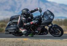 Tony Shreds at speed on a Harley-Davidson (150). Photo by Justin George, courtesy AHRMA.