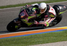 Hector Barbera (8) testing a Pramac Racing Ducati Desmosedici MotoGP bike at Valencia in 2011. Photo courtesy Pramac Racing.