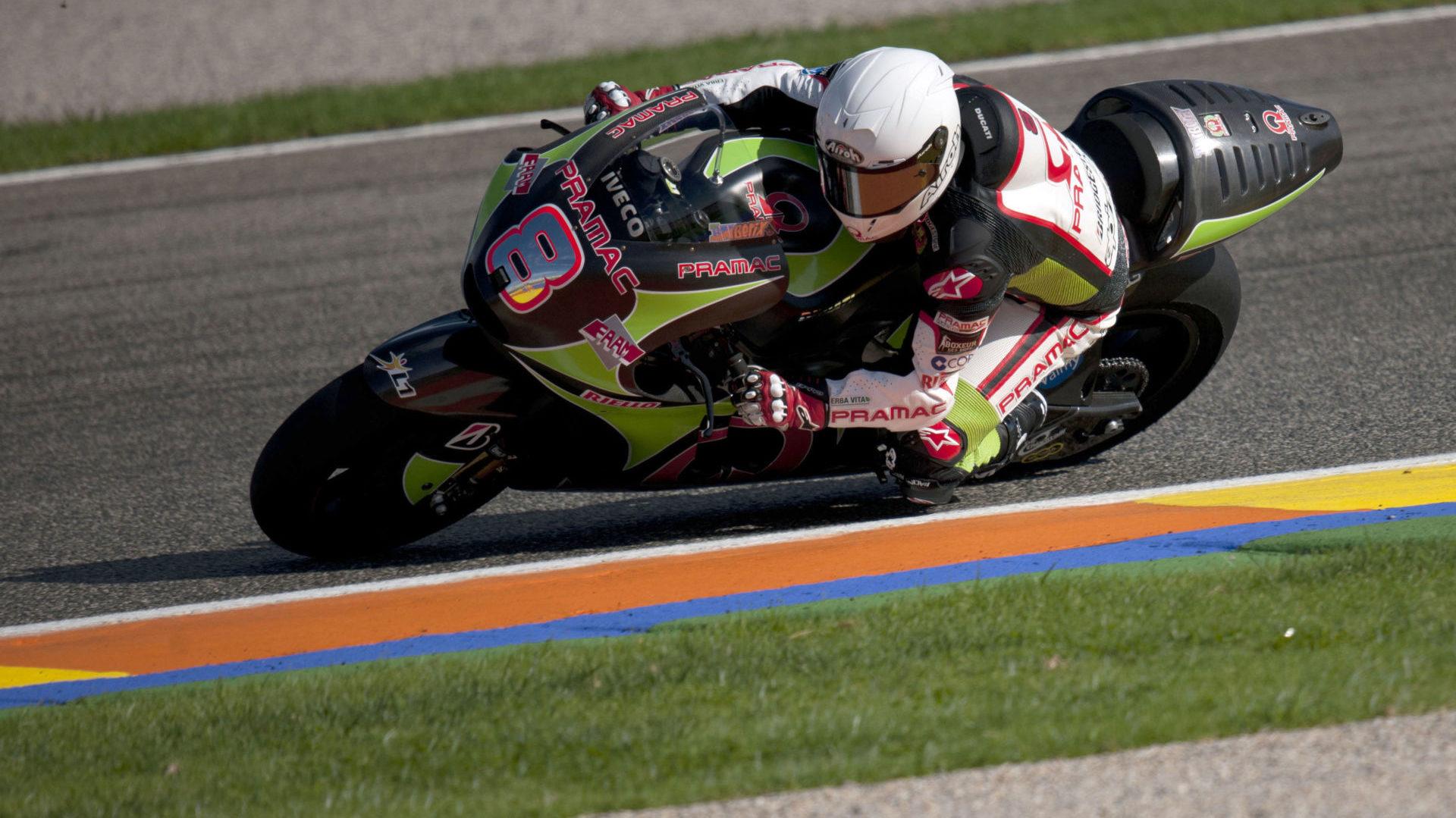 Hector Barbera (8) testing a Pramac Racing Ducati Desmosedici MotoGP bike at Valencia in 2011. Photo courtesy Pramac Racing.