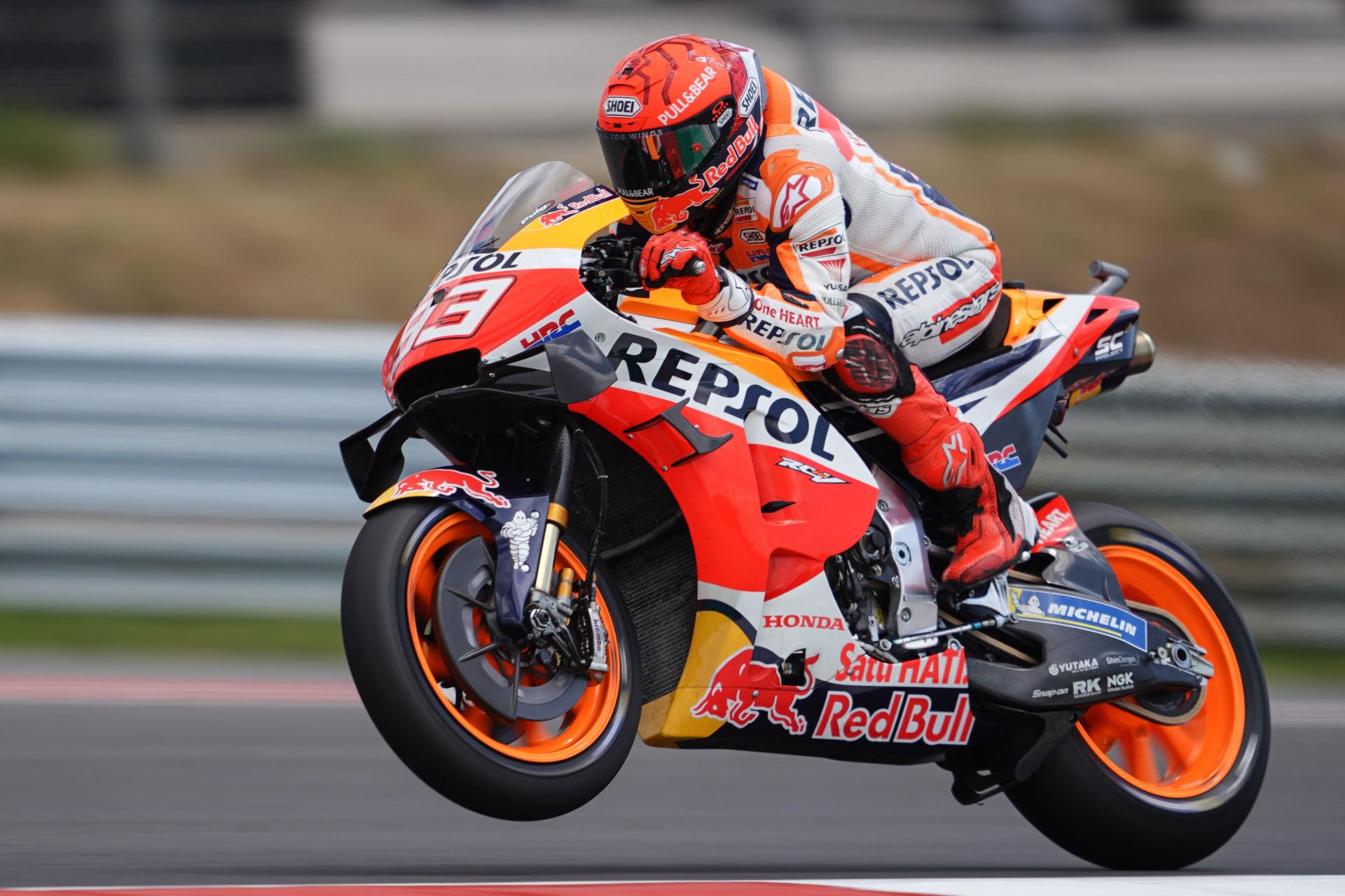 Marc Marquez (93) at speed in Portugal. Photo courtesy Repsol Honda.