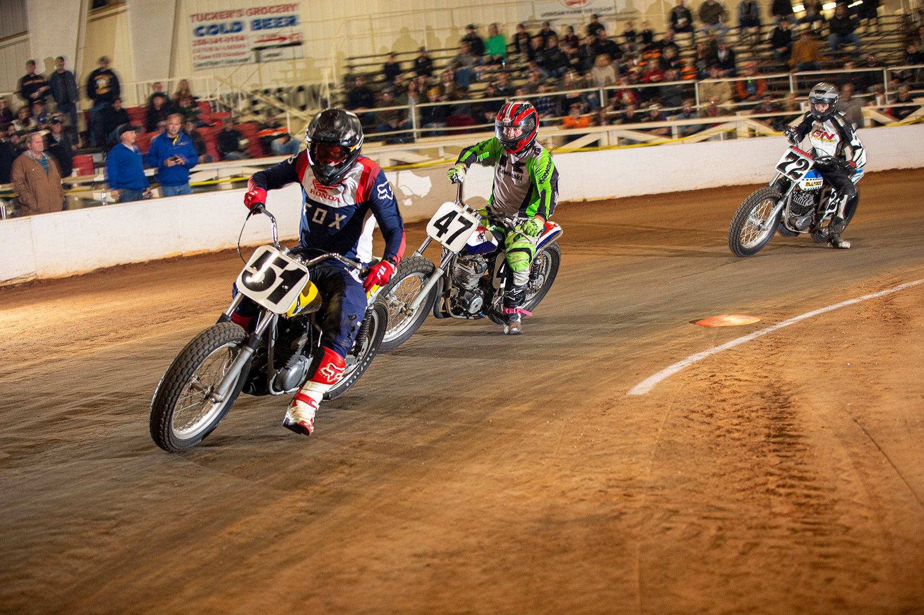 AHRMA dirt track racers in action at the Celebration Arena, in Priceville, Alabama. Photo by Kevin McIntosh, courtesy AHRMA.