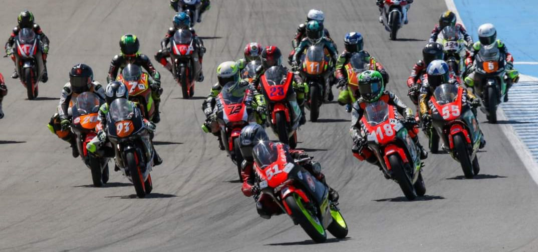 American Mikey Lou Sanchez (51) leads the field into Turn One at Jerez. Photo courtesy Sanchez Racing.