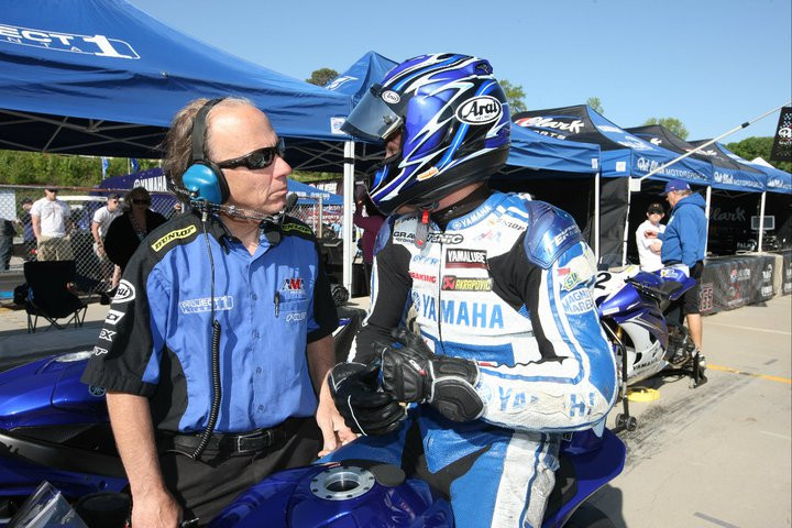 Geoff Cesmat (left) with rider Clinton Seller during the 2010 AMA Pro Daytona SportBike Championship. Photo by Quentin Wilson.