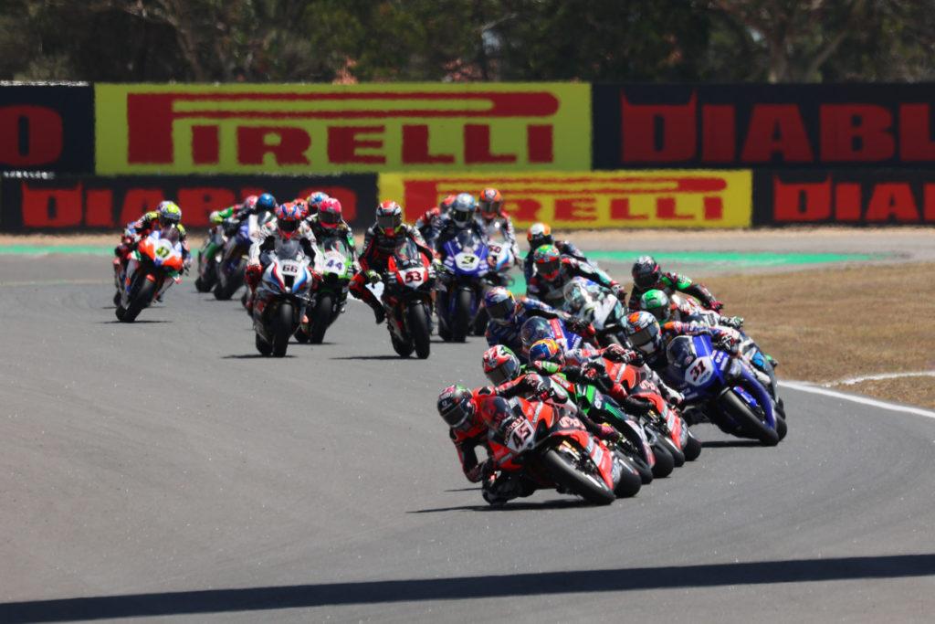 Scott Redding (45) leads the start of World Superbike Race Two at Estoril. Photo courtesy Dorna.