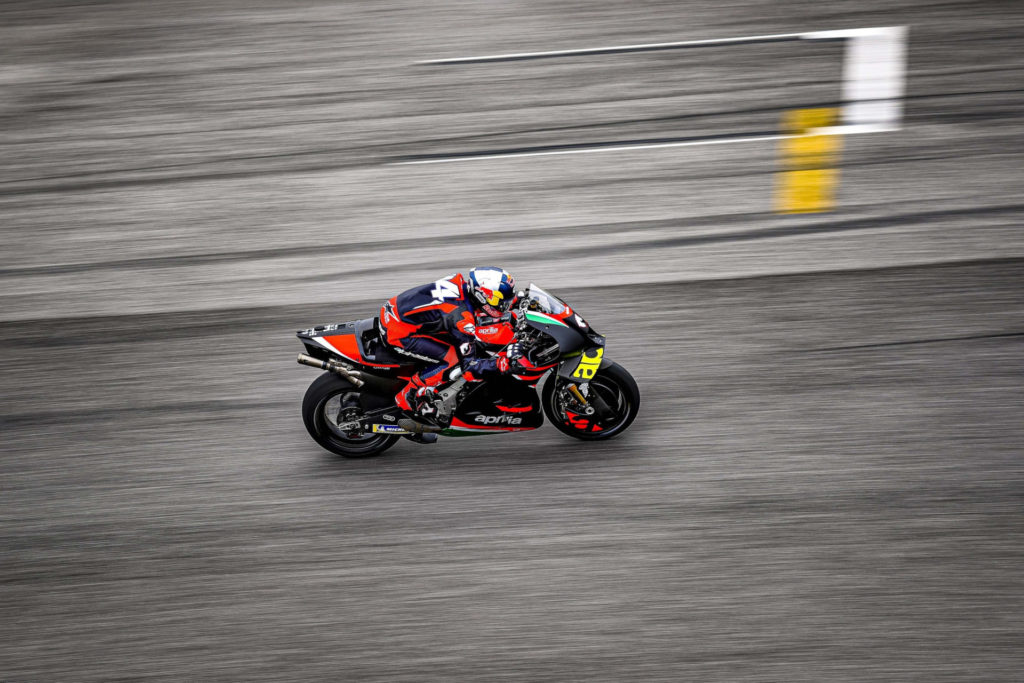 Andrea Dovizioso tested the Aprilia RS-GP in fully wet and in drying conditions at Mugello, Photo courtesy Aprilia.