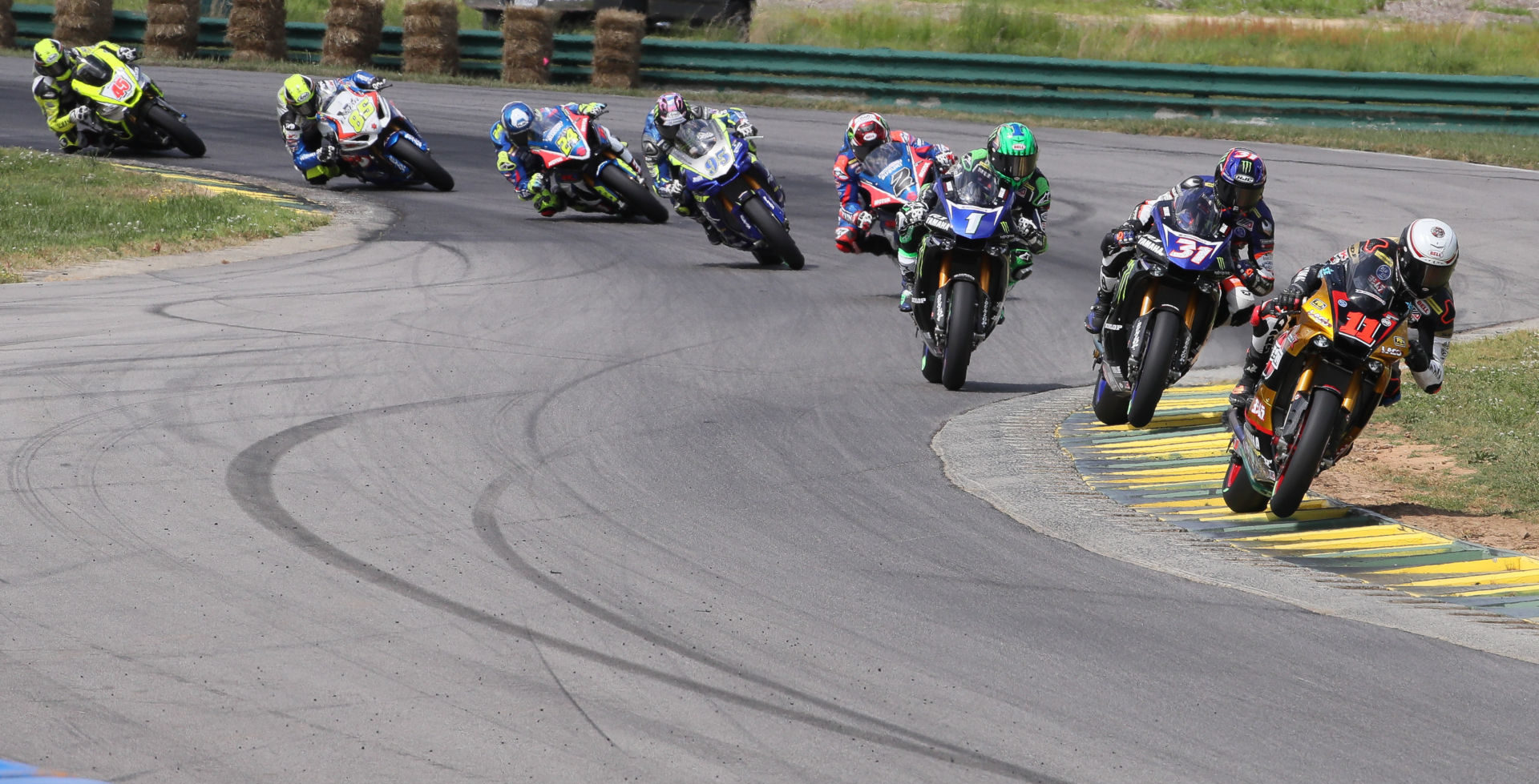 The start of MotoAmerica Superbike Race One at VIR in 2019. Photo by Brian J. Nelson.