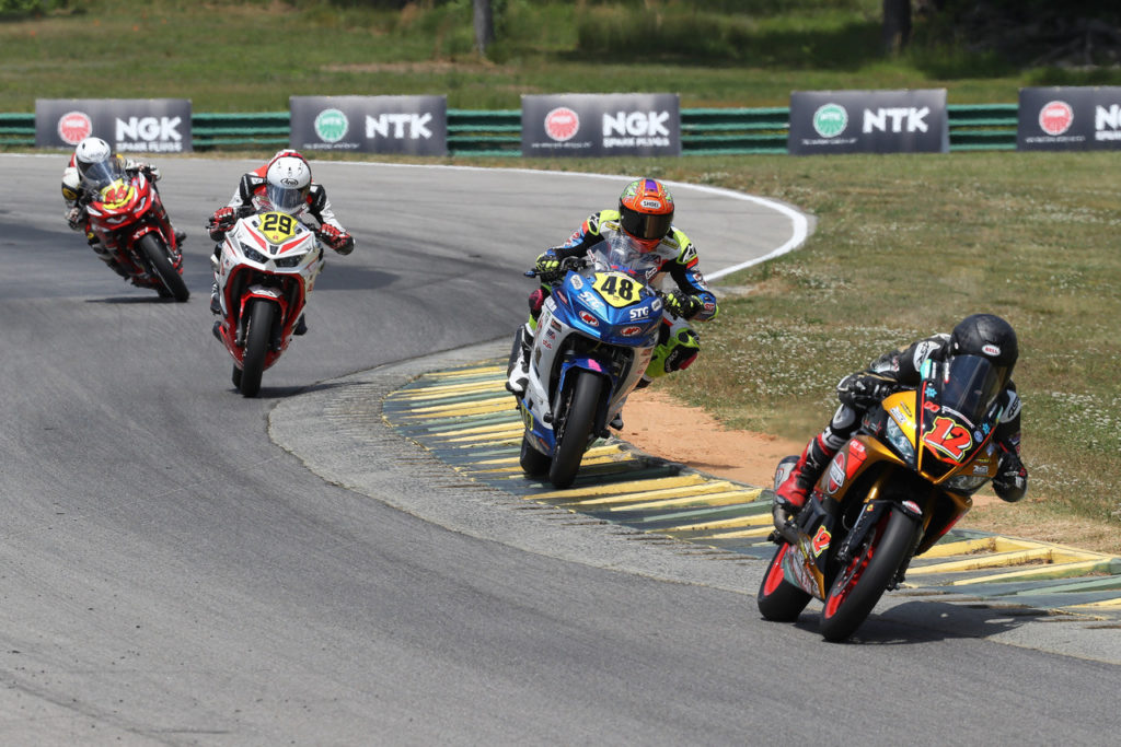 Jack Roach (12), Max VanDenBrouck (48), David Kohlstaedt (29), and Gus Rodio (96) on track. Photo by Brian J. Nelson, courtesy Westby Racing.