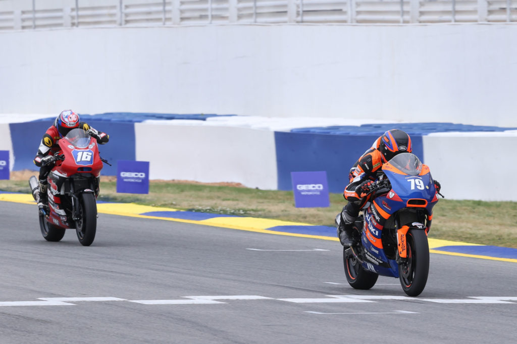 Teagg Hobbs (79) topped Trevor Standish (16) in the restarted Twins Cup Race Two. Photo by Brian J. Nelson, courtesy MotoAmerica.