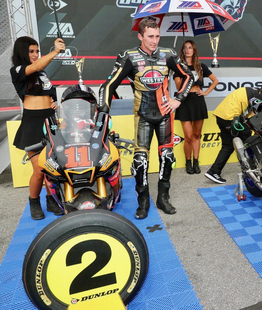 Mathew Scholtz in victory circle at VIR. Photo by Brian J. Nelson, courtesy Westby Racing.