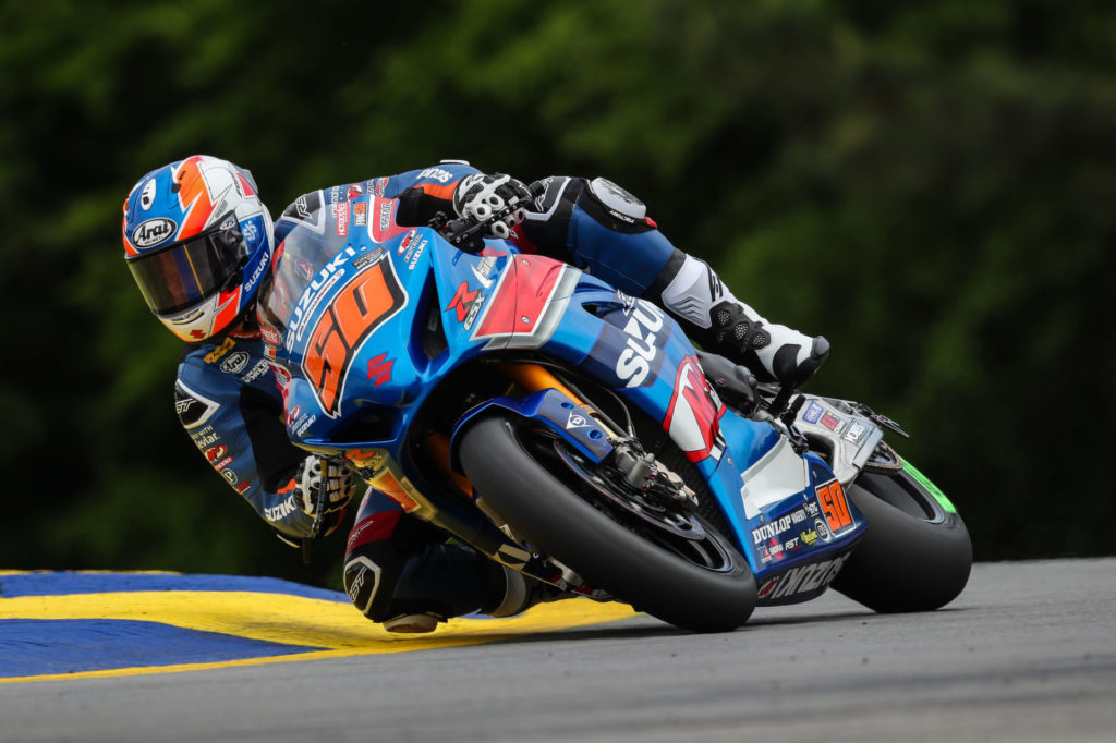 Bobby Fong (50) raced hard and delivered a podium finish and a top five finish to back it up. Photo by Brian J. Nelson, courtesy Suzuki Motor USA, LLC.